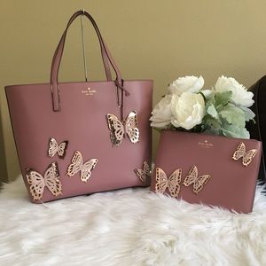 New kate spade butterflies tote bag & clutch